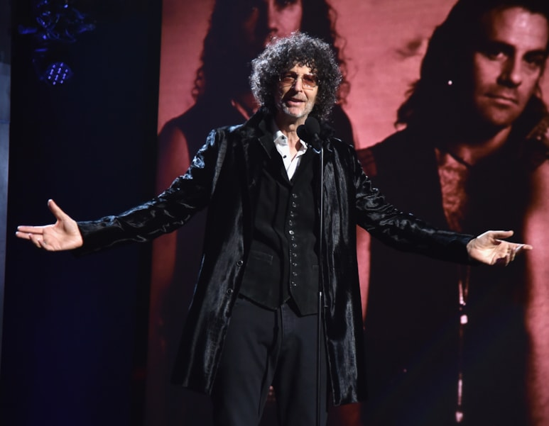 CLEVELAND, OH - APRIL 14:  Howard Stern inducts Bon Jovi on stage during the 33rd Annual Rock & Roll Hall of Fame Induction Ceremony at Public Auditorium on April 14, 2018 in Cleveland, Ohio.  (Photo by Theo Wargo/Getty Images For The Rock and Roll Hall of Fame)