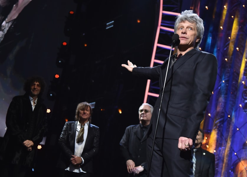 CLEVELAND, OH - APRIL 14:  Inductee Jon Bon Jovi speaks onstage during 33rd Annual Rock & Roll Hall of Fame Induction Ceremony at Public Auditorium on April 14, 2018 in Cleveland, Ohio.  (Photo by Theo Wargo/Getty Images For The Rock and Roll Hall of Fame)