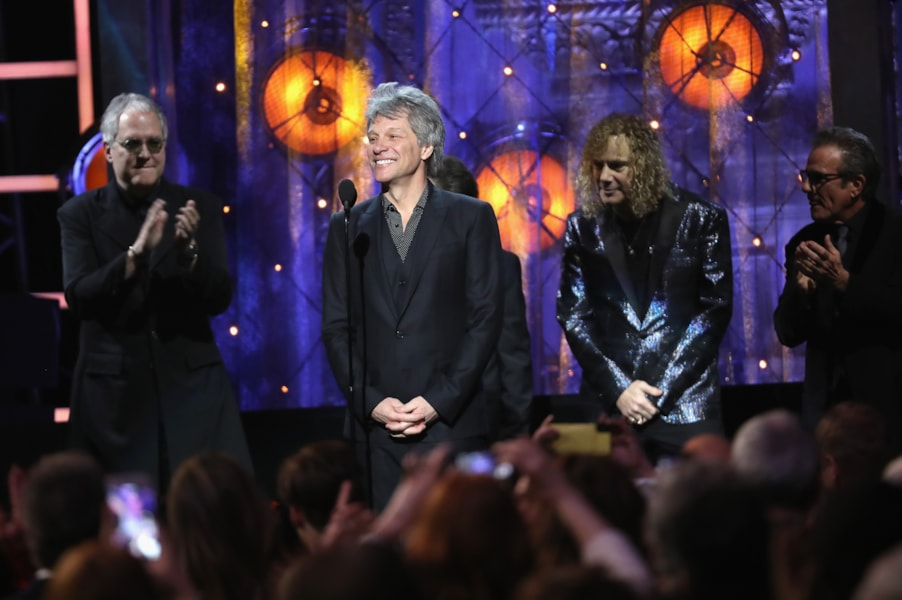 CLEVELAND, OH - APRIL 14:  Inductee Jon Bon Jovi speaks onstage during 33rd Annual Rock & Roll Hall of Fame Induction Ceremony at Public Auditorium on April 14, 2018 in Cleveland, Ohio.  (Photo by Kevin Kane/Getty Images For The Rock and Roll Hall of Fame)