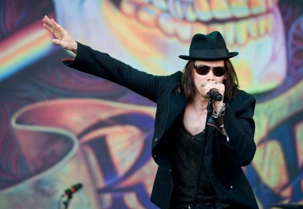 GLASTONBURY, ENGLAND - JUNE 27:  Myles Kennedy performs with 'Slash' on The Pyramid Stage during Day 4 of the Glastonbury Festival on June 27, 2010 in Glastonbury, England. This year sees the 40th anniversary of the festival which was started by a dairy farmer, Michael Evis in 1970 and has grown into the largest music festival in Europe.  (Photo by Ian Gavan/Getty Images)