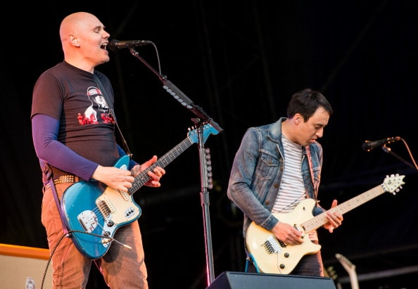 GLASTONBURY, ENGLAND - JUNE 30: Billy Corgan and Jeff Schroeder of the Smashing Pumpkins perform on the Other Stage during day 4 of the 2013 Glastonbury Festival at Worthy Farm on June 29, 2013 in Glastonbury, England. (Photo by Ian Gavan/Getty Images)