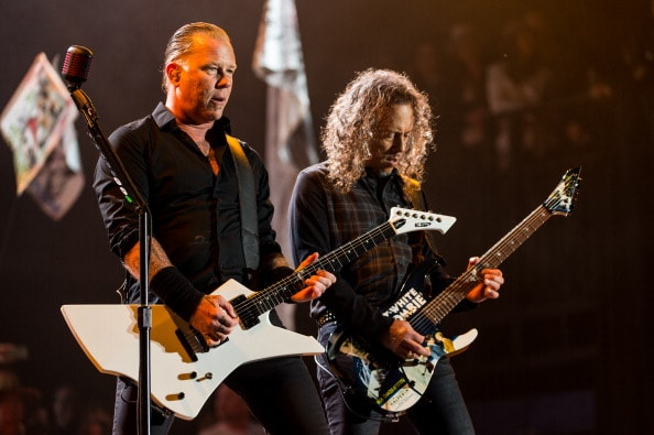 GLASTONBURY, ENGLAND - JUNE 28: James Hetfield and Kirk Hammettof Metallica performs on the Pyramid stage during Day 2 of the Glastonbury Festival at Worthy Farm on June 28, 2014 in Glastonbury, England.  (Photo by Ian Gavan/Getty Images)