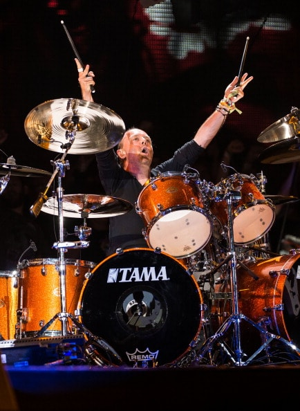 GLASTONBURY, ENGLAND - JUNE 28: Lars Ulrich of Metallica performs on the Pyramid stage during Day 2 of the Glastonbury Festival at Worthy Farm on June 28, 2014 in Glastonbury, England.  (Photo by Ian Gavan/Getty Images)