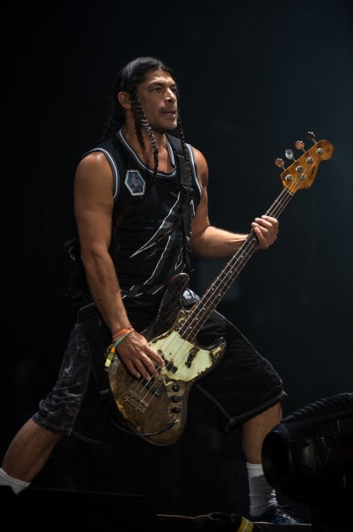 GLASTONBURY, ENGLAND - JUNE 28: Robert Trujillo of Metallica performs on the Pyramid stage during Day 2 of the Glastonbury Festival at Worthy Farm on June 28, 2014 in Glastonbury, England.  (Photo by Ian Gavan/Getty Images)