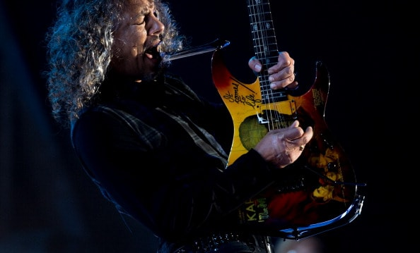 GLASTONBURY, ENGLAND - JUNE 28: Kirk Hammett of Metallica performs on the Pyramid stage during Day 2 of the Glastonbury Festival at Worthy Farm on June 28, 2014 in Glastonbury, England.  (Photo by Ian Gavan/Getty Images)