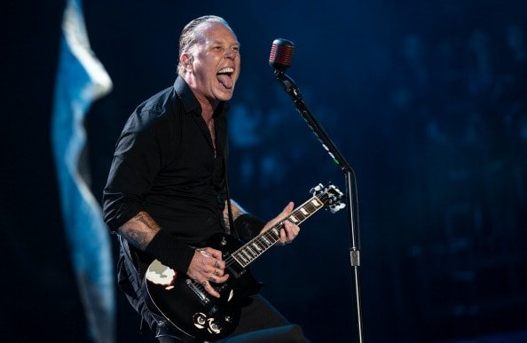 GLASTONBURY, ENGLAND - JUNE 28: James Hetfield of Metallica performs on the Pyramid stage during Day 2 of the Glastonbury Festival at Worthy Farm on June 28, 2014 in Glastonbury, England.  (Photo by Ian Gavan/Getty Images)