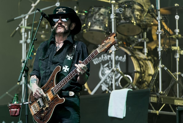 GLASTONBURY, ENGLAND - JUNE 26: Lemmy from Motorhead performs on The Pyramid Stage during the Glastonbury Festival at Worthy Farm, Pilton on June 26, 2015 in Glastonbury, England.  Now its 45th year the festival is one largest music festivals in the world and this year features headline acts Florence and the Machine, Kanye West and The Who. The Festival, which Michael Eavis started in 1970 when several hundred hippies paid just £1, now attracts more than 175,000 people.  (Photo by Ian Gavan/Getty Images)