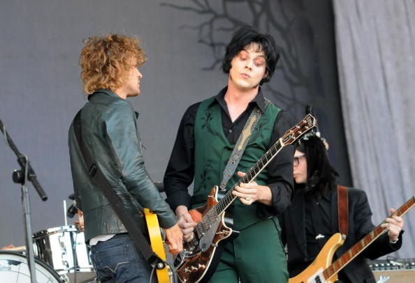GLASTONBURY, UNITED KINGDOM - JUNE 28:  Jack White and Brendan Benson of The Raconteurs perform on the Pyramid stage during day two of the Glastonbury Festival at Worthy Farm, Pilton on June 28, 2008 in Glastonbury, Somerset, England.  (Photo by Jim Dyson/Getty Images)