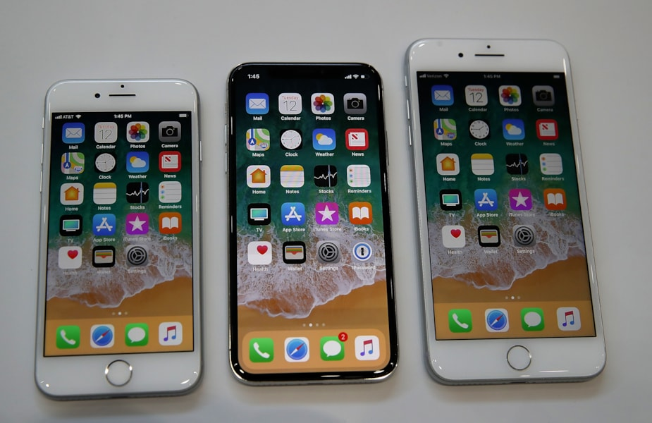 CUPERTINO, CA - SEPTEMBER 12:  (L-R) The new iPhone 8, iPhone X and iPhone 8S are displayed during an Apple special event at the Steve Jobs Theatre on the Apple Park campus on September 12, 2017 in Cupertino, California. Apple held their first special event at the new Apple Park campus where they announced the new iPhone 8, iPhone X and the Apple Watch Series 3.  (Photo by Justin Sullivan/Getty Images)