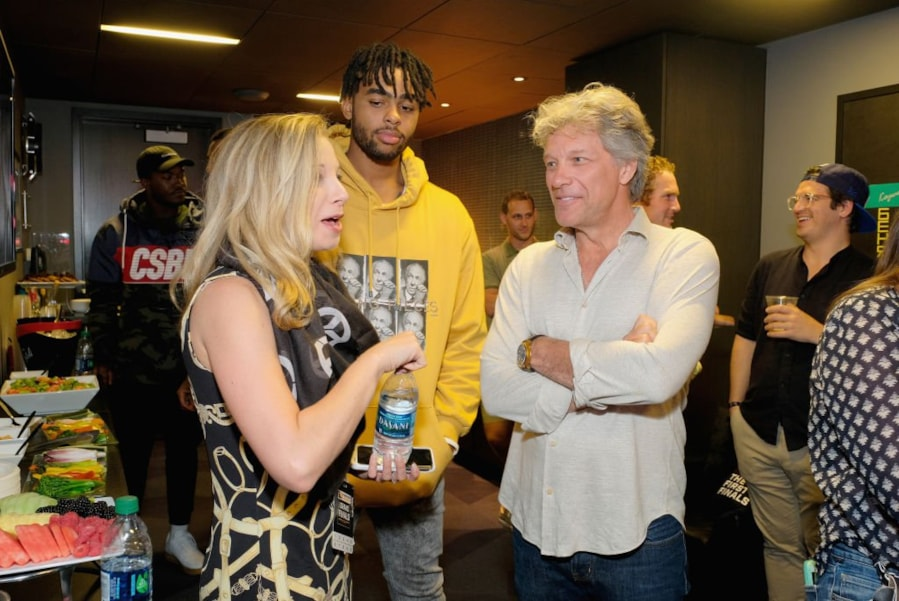 NEW YORK, NY - JULY 27:  D?Angelo Russell, and Jon Bon Jovi attends Overwatch League Grand Finals - Day 1 at Barclays Center on July 27, 2018 in New York City.  (Photo by Matthew Eisman/Getty Images for Blizzard Entertainment )