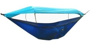 navy blue and light blue hammock with mosquito net